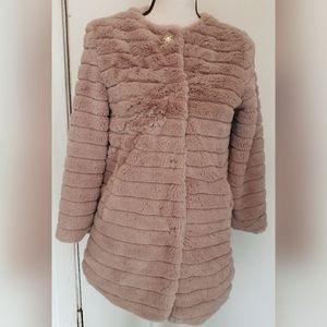 Me Jane Belk Pink Faux Fur Jacket Half Sleeves
